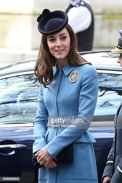 Catherine Duchess of Cambridge marks 75th Anniversary of RAF Air Cadets at St Clement Danes Church on February 7 2016 in London England
