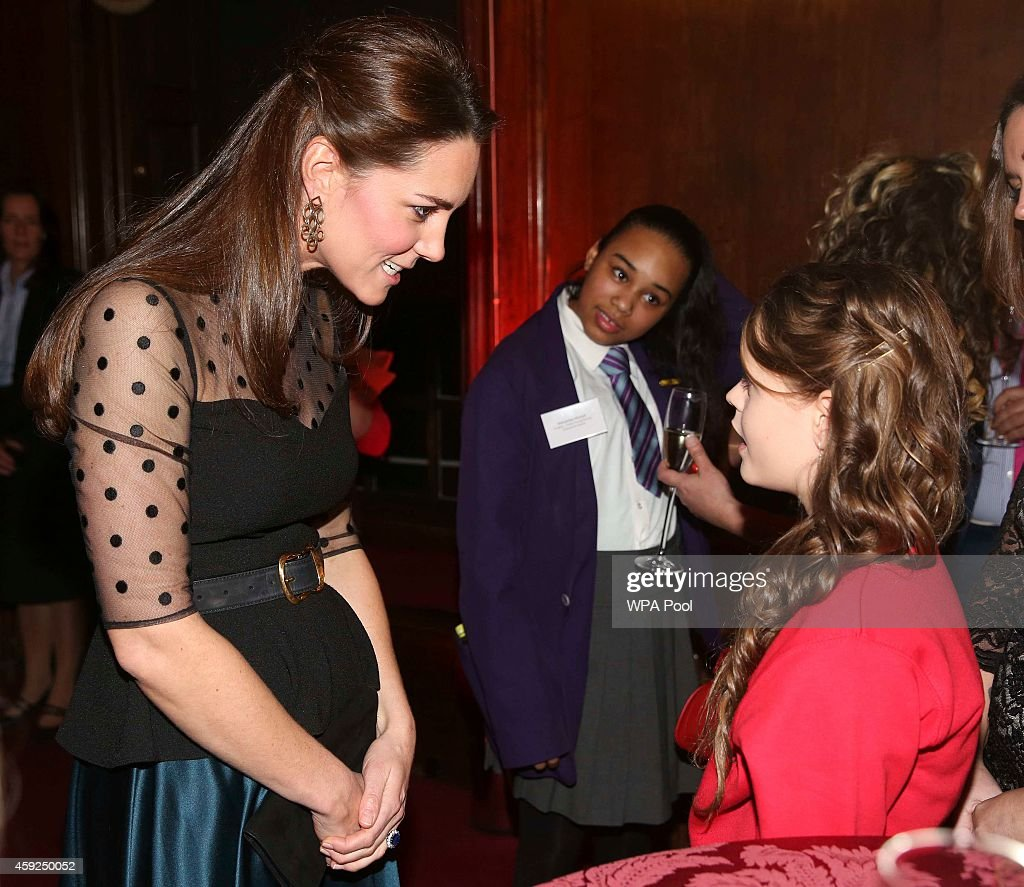 Catherine Duchess of Cambridge meets a finalist in the child champion award Georgia Alvey from Cotsford Junior school in County Durham at the...