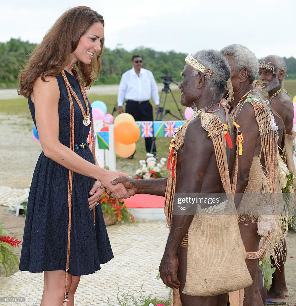 Catherine, Duchess of Cambridge meets a local as she arrives in Marau on their way to Tivanipupu on day 7 of their Diamond Jubilee Tour, on September 17, 2012 in Marau, Guadacanal Province, Solomon Islands. Prince William, Duke of Cambridge and Catherine, Duchess of Cambridge arrived in the Solomon Islands as the first stop of the Pacific leg of their nine day Diamond Jubilee Tour of the Far East and South Pacific.