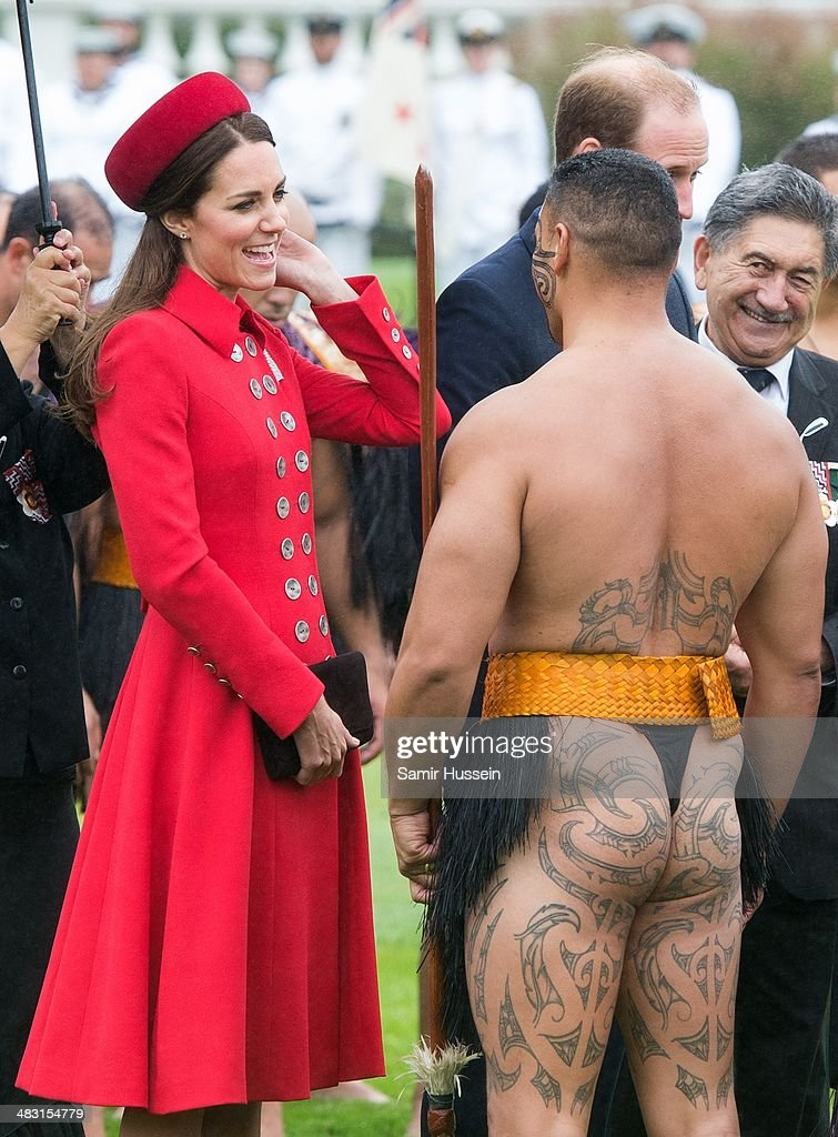 Catherine, Duchess of Cambridge meets a Maori during a Maori Powhiri Ceremonial Welcome at Government House on April 7, 2014 in Wellington, New Zealand. The Duke and Duchess of Cambridge are on a three-week tour of Australia and New Zealand, the first official trip overseas with their son, Prince George of Cambridge.