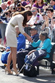 Catherine Duchess of Cambridge meets an elderly local woman during an official welcome ceremony at the Somba K'e Civic Plaza on July 5 2011 in...