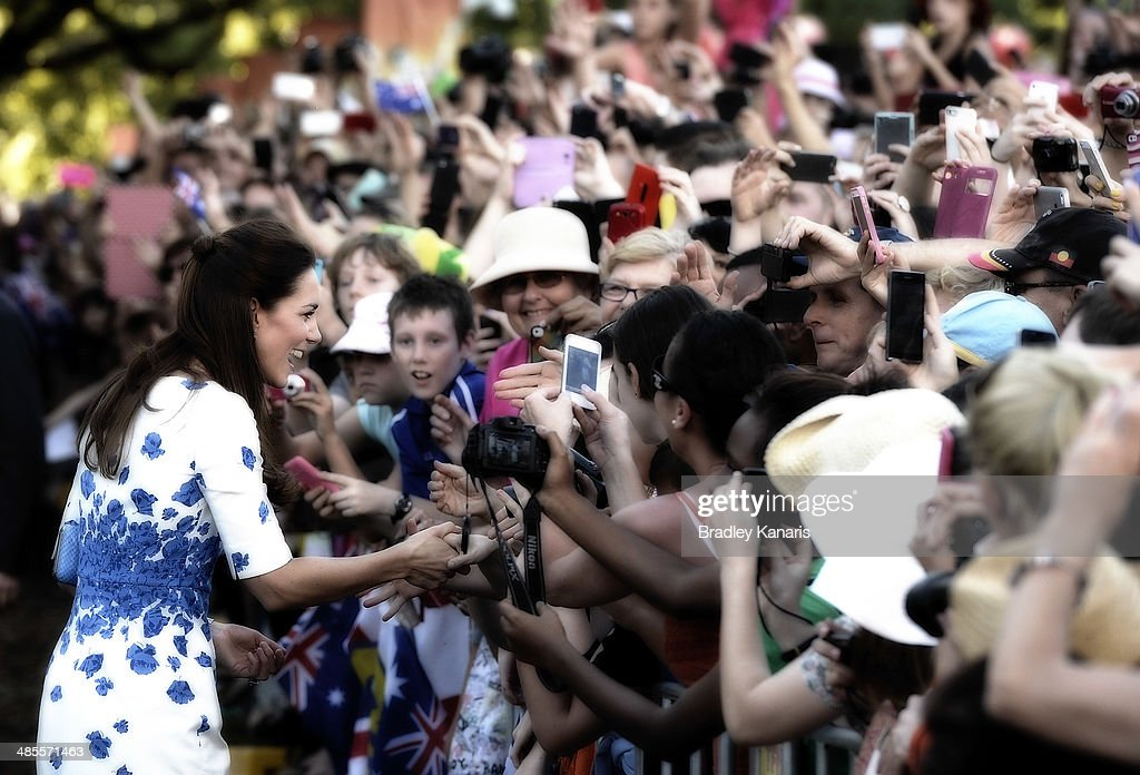 <a gi-track='captionPersonalityLinkClicked' href=/galleries/search?phrase=Catherine+-+Duchess+of+Cambridge&family=editorial&specificpeople=542588 ng-click='$event.stopPropagation()'>Catherine</a>, Duchess of Cambridge meets and greets members of the public on April 19, 2014 in Brisbane, Australia. The Duke and Duchess of Cambridge are on a three-week tour of Australia and New Zealand, the first official trip overseas with their son, Prince George of Cambridge.