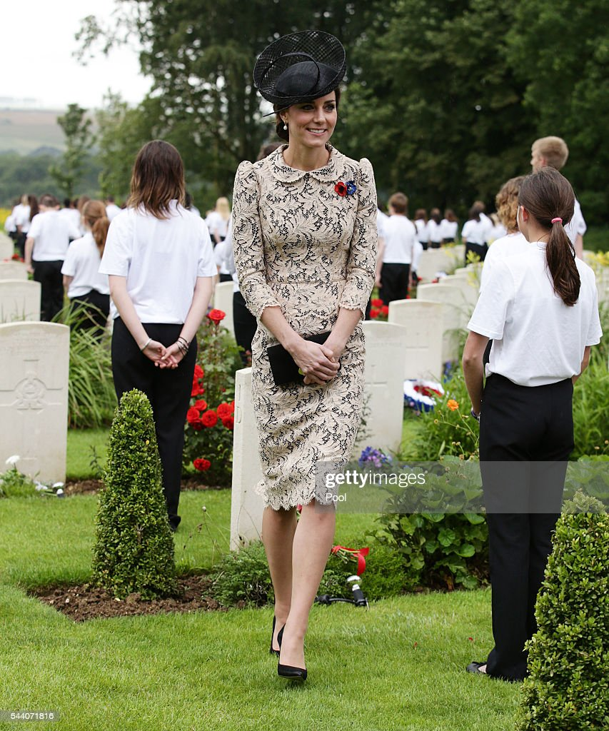 Catherine, Duchess of Cambridge meets British and French school children by war graves following the wreath laying, during the Commemoration of the Centenary of the Battle of the Somme at the Commonwealth War Graves Commission Thiepval Memoria on July 1, 2016 in Thiepval, France. The event is part of the Commemoration of the Centenary of the Battle of the Somme at the Commonwealth War Graves Commission Thiepval Memorial in Thiepval, France, where 70,000 British and Commonwealth soldiers with no known grave are commemorated.