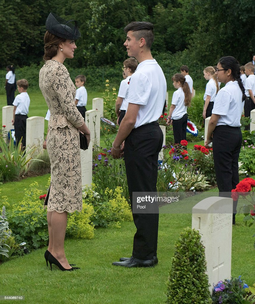 Catherine, Duchess of Cambridge meets British and French school children during the Commemoration of the Centenary of the Battle of the Somme at the Commonwealth War Graves Commission Thiepval Memorial on July 1, 2016 in Thiepval, France. The event is part of the Commemoration of the Centenary of the Battle of the Somme at the Commonwealth War Graves Commission Thiepval Memorial in Thiepval, France, where 70,000 British and Commonwealth soldiers with no known grave are commemorated.