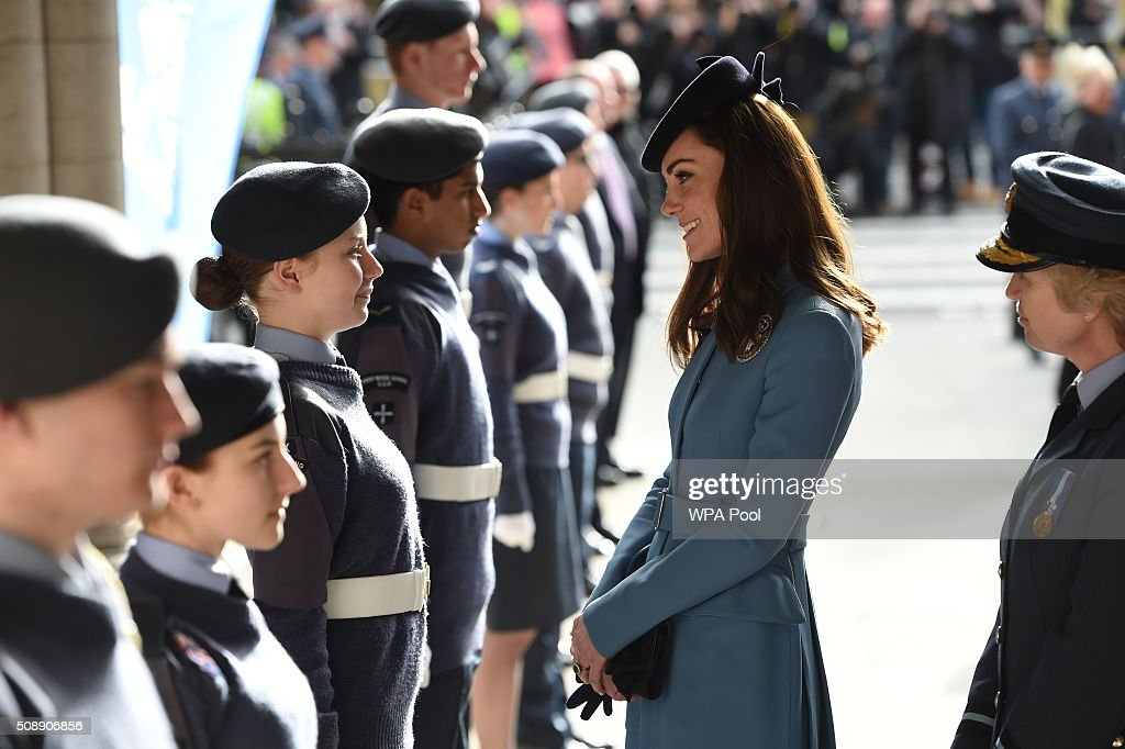 <a gi-track='captionPersonalityLinkClicked' href=/galleries/search?phrase=Catherine+-+Duchess+of+Cambridge&family=editorial&specificpeople=542588 ng-click='$event.stopPropagation()'>Catherine</a>, Duchess of Cambridge meets cadets during the 75th Anniversary of the RAF Air Cadets at St Clement Danes Church on February 7, 2016 in London, England.