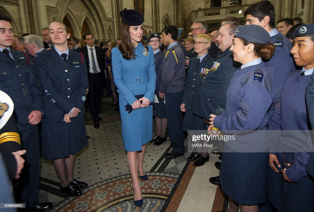 <a gi-track='captionPersonalityLinkClicked' href=/galleries/search?phrase=Catherine+-+Duchesse+de+Cambridge&family=editorial&specificpeople=542588 ng-click='$event.stopPropagation()'>Catherine</a>, Duchess of Cambridge meets cadets during the 75th Anniversary of the RAF Air Cadets at St Clement Danes Church on February 7, 2016 in London, England.