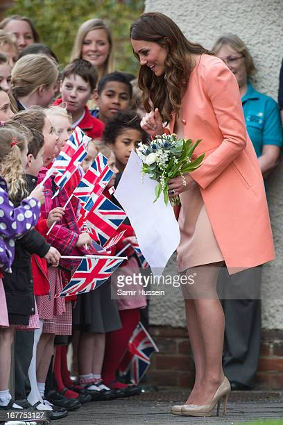 Catherine Duchess of Cambridge meets children as she visits Naomi House on April 29 2103 near Winchester England