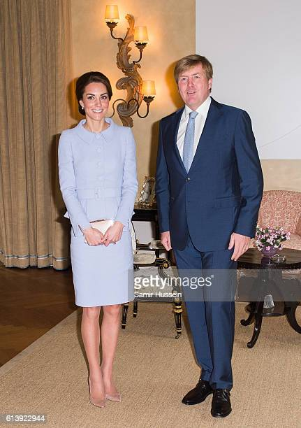 Catherine Duchess of Cambridge meets King Willem Alexander of the Netherlands at Villa Eikenhorst on October 11 2016 in The Hague Netherlands