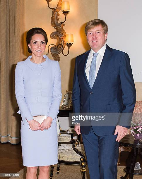 Catherine Duchess of Cambridge meets King Willem Alexander of the Netherlands at Villa Eikenhorst on October 11 2016 in The Hague Netherlands