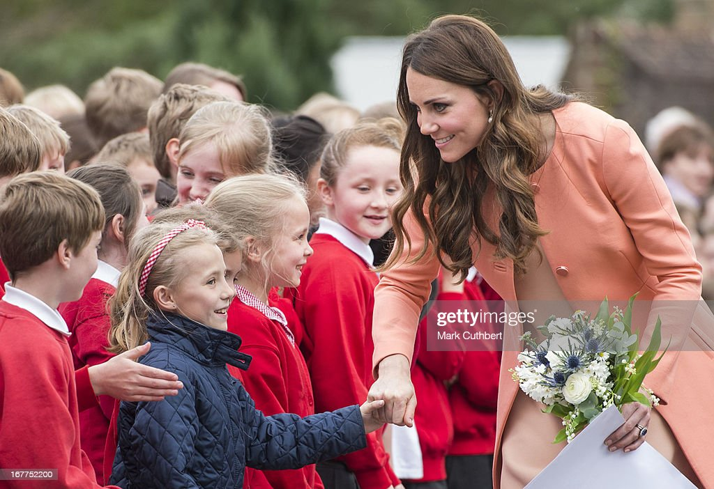 Catherine, Duchess of Cambridge meets local school children as she leaves Naomi House on April 29, 2013 near Winchester, England.
