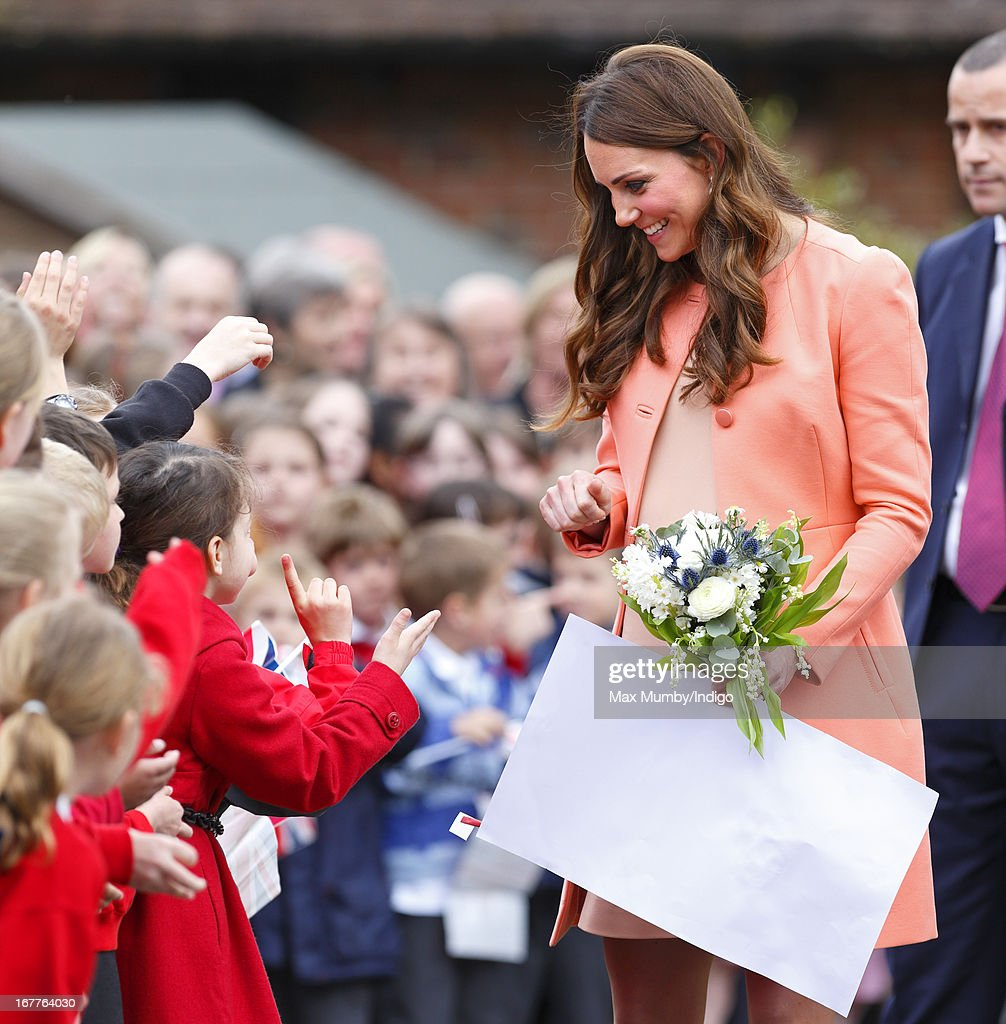 <a gi-track='captionPersonalityLinkClicked' href=/galleries/search?phrase=Catherine+-+Duchess+of+Cambridge&family=editorial&specificpeople=542588 ng-click='$event.stopPropagation()'>Catherine</a>, Duchess of Cambridge meets local school children as she visits Naomi House Children's Hospice, to celebrate Children's Hospice Week 2013 on April 29, 2013 near Winchester, Hampshire, England. Today marks the second wedding anniversary of Prince William, Duke of Cambridge and <a gi-track='captionPersonalityLinkClicked' href=/galleries/search?phrase=Catherine+-+Duchess+of+Cambridge&family=editorial&specificpeople=542588 ng-click='$event.stopPropagation()'>Catherine</a>, Duchess of Cambridge. They married on April 29, 2011 in Westminster Abbey.