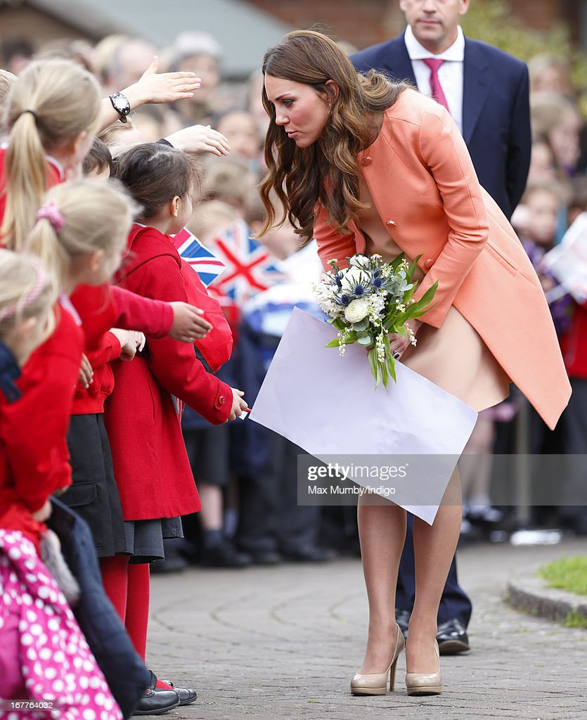 Catherine, Duchess of Cambridge meets local school children as she visits Naomi House Children's Hospice, to celebrate Children's Hospice Week 2013 on April 29, 2013 near Winchester, Hampshire, England. Today marks the second wedding anniversary of Prince William, Duke of Cambridge and Catherine, Duchess of Cambridge. They married on April 29, 2011 in Westminster Abbey.