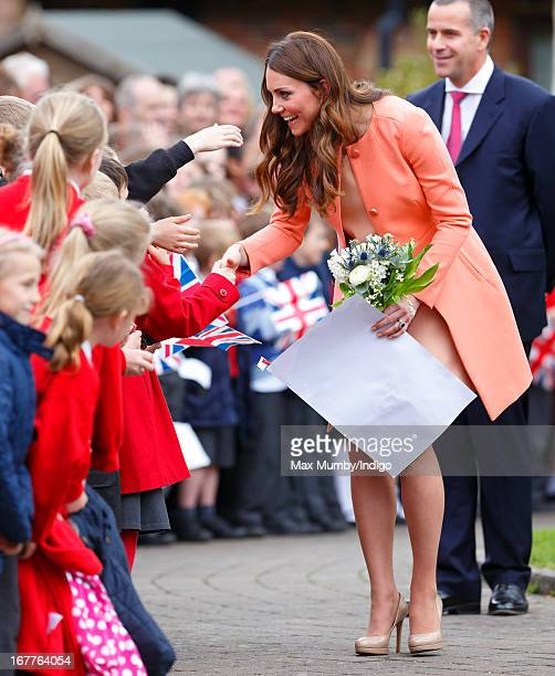 Catherine Duchess of Cambridge meets local school children as she visits Naomi House Children's Hospice to celebrate Children's Hospice Week 2013 on...