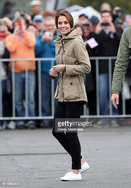 Catherine Duchess of Cambridge meets members of the Canadian public after disembarking the ship Pacific Grace in Victoria Harbour on the final day of...