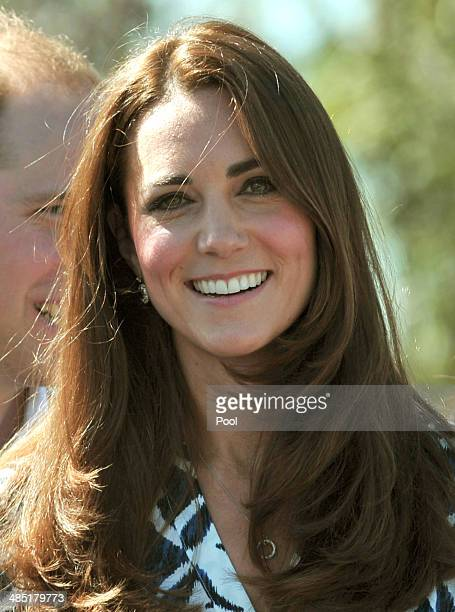 Catherine Duchess of Cambridge meets members of the New South Wales Rural Fire Service at Winmalee Guide Hall in Yellow Rock during the eleventh day...