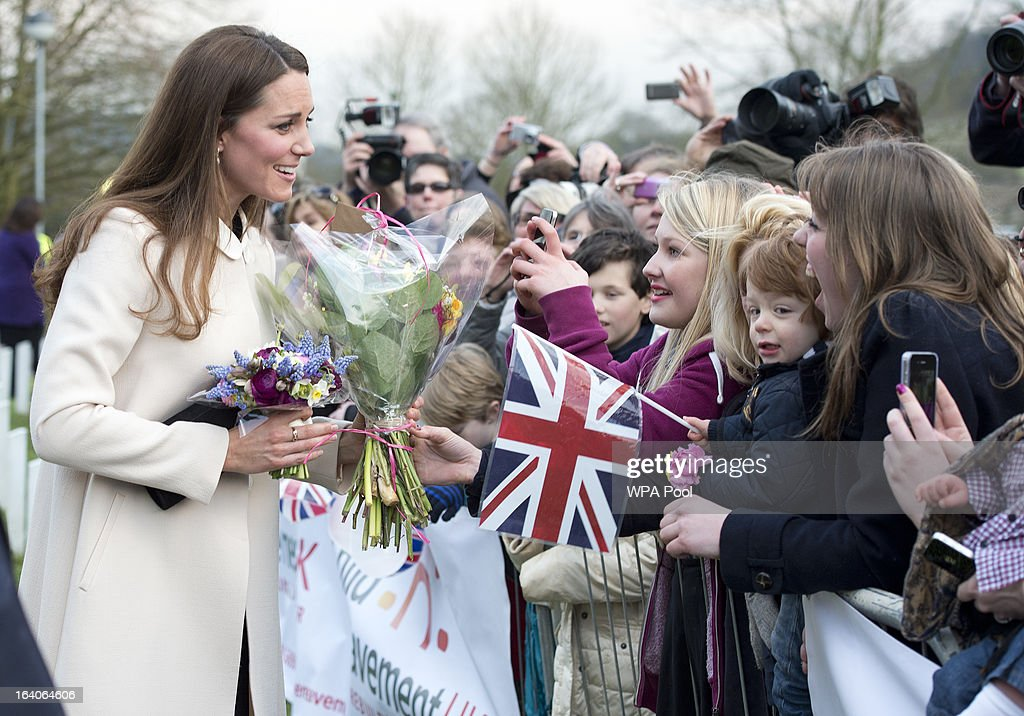Catherine, Duchess of Cambridge meets members of the public as she visits the offices of Child Bereavement UK on March 19, 2013 in Saunderton, Buckinghamshire.