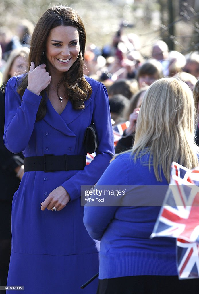 Catherine, Duchess of Cambridge meets members of the public as she arrives to officially open The Treehouse Children's Hospice on March 19, 2012 in Ipswich, England.