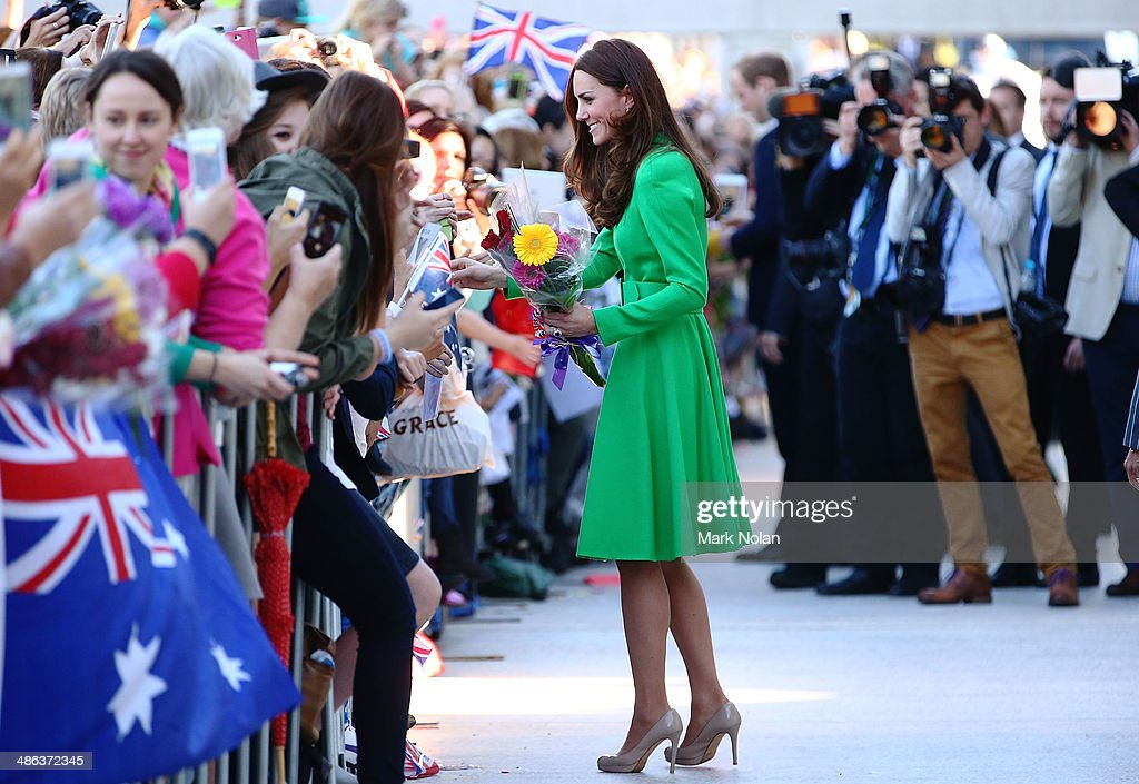 Catherine, Duchess of Cambridge meets members of the public outside the National Portrait Gallery on April 24, 2014 in Canberra, Australia. The Duke and Duchess of Cambridge are on a three-week tour of Australia and New Zealand, the first official trip overseas with their son, Prince George of Cambridge.