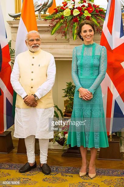 Catherine Duchess of Cambridge meets Prime Minister of India Narenda Modi in New Delhi's Hyderabad House on April 12 2016 in New Dehli India The Duke...