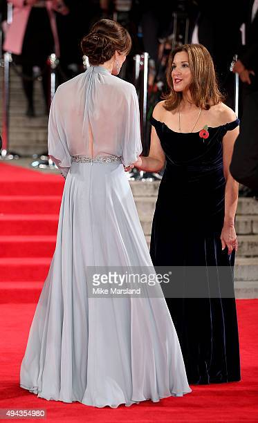 Catherine Duchess of Cambridge meets producer Barbara Broccoli as she attends the Royal Film Performance of 'Spectre' at Royal Albert Hall on October...
