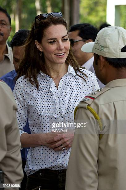 Catherine Duchess of Cambridge meets rangers while on a Game drive with Prince William Duke of Cambridge at Kaziranga National Park at Kaziranga...