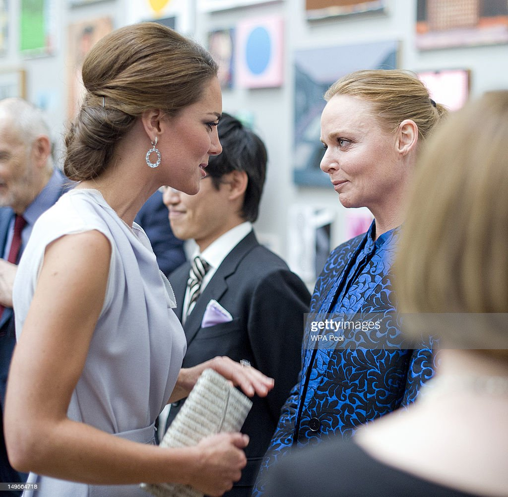 Catherine, Duchess of Cambridge meets Stella McCartney as she attends the UK's Creative Industries Reception at the Royal Academy of Arts on July 30, 2012 in London, England.