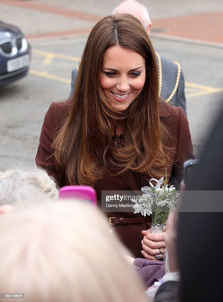 Catherine, Duchess of Cambridge meets the crowd during her visit to the National Fishing Heritage Centre during her official visit to Grimsby on March 5, 2013 in Grimsby, England.
