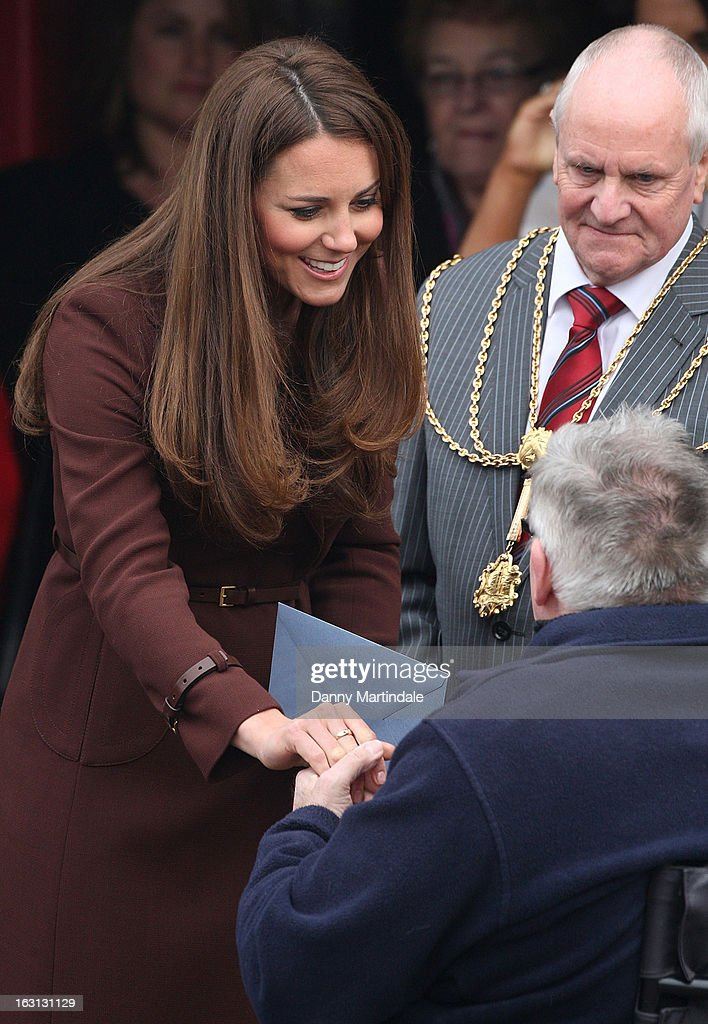 Catherine, Duchess of Cambridge meets theb crowd during her visit to the National Fishing Heritage Centre during her official visit to Grimsby on March 5, 2013 in Grimsby, England.