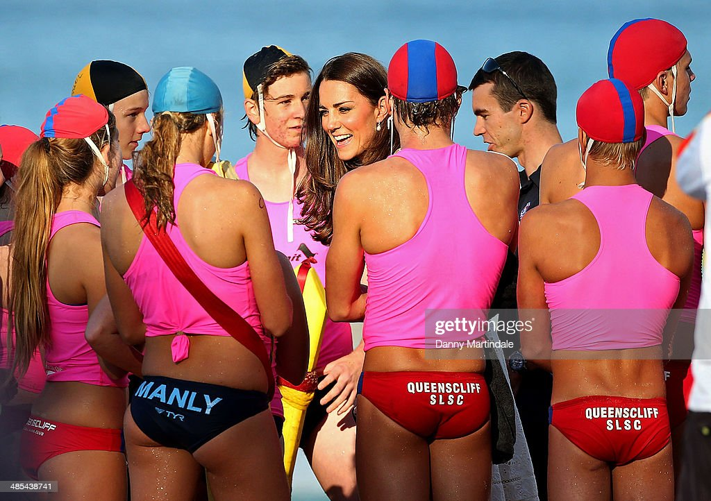 Catherine, Duchess of Cambridge meets various Sydney Life Saving Clubs during her visit to Manly Beach on April 18, 2014 in Sydney, Australia. The Duke and Duchess of Cambridge are on a three-week tour of Australia and New Zealand, the first official trip overseas with their son, Prince George of Cambridge.