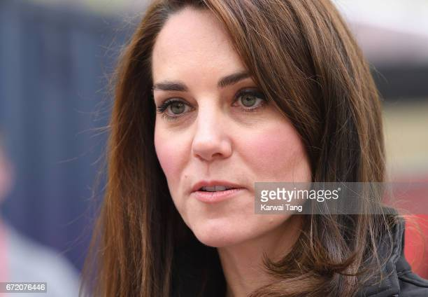 Catherine Duchess of Cambridge meets volunteers during the 2017 Virgin Money London Marathon on April 23 2017 in London England