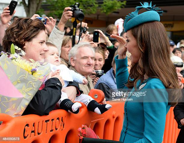 Catherine Duchess of Cambridge meets well wishers as she visits Cathedral Church at St Paul on April 13 2014 in Dunedin New Zealand The Duke and...