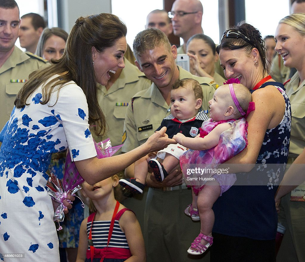 Catherine, Duchess of Cambridge meets with families of service personnel at the Royal Australian Airforce Base at Amberley on April 19, 2014 in Brisbane, Australia. The Duke and Duchess of Cambridge are on a three-week tour of Australia and New Zealand, the first official trip overseas with their son, Prince George of Cambridge.