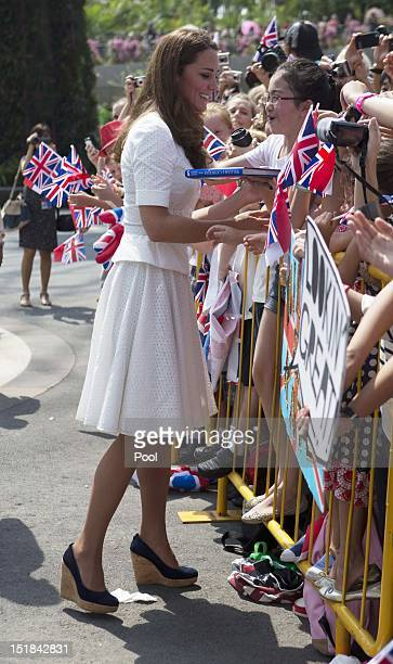 Catherine Duchess of Cambridge meets with members of the public as she visits Gardens by the Bay on day 2 of the Diamond Jubilee Tour of the Far East...