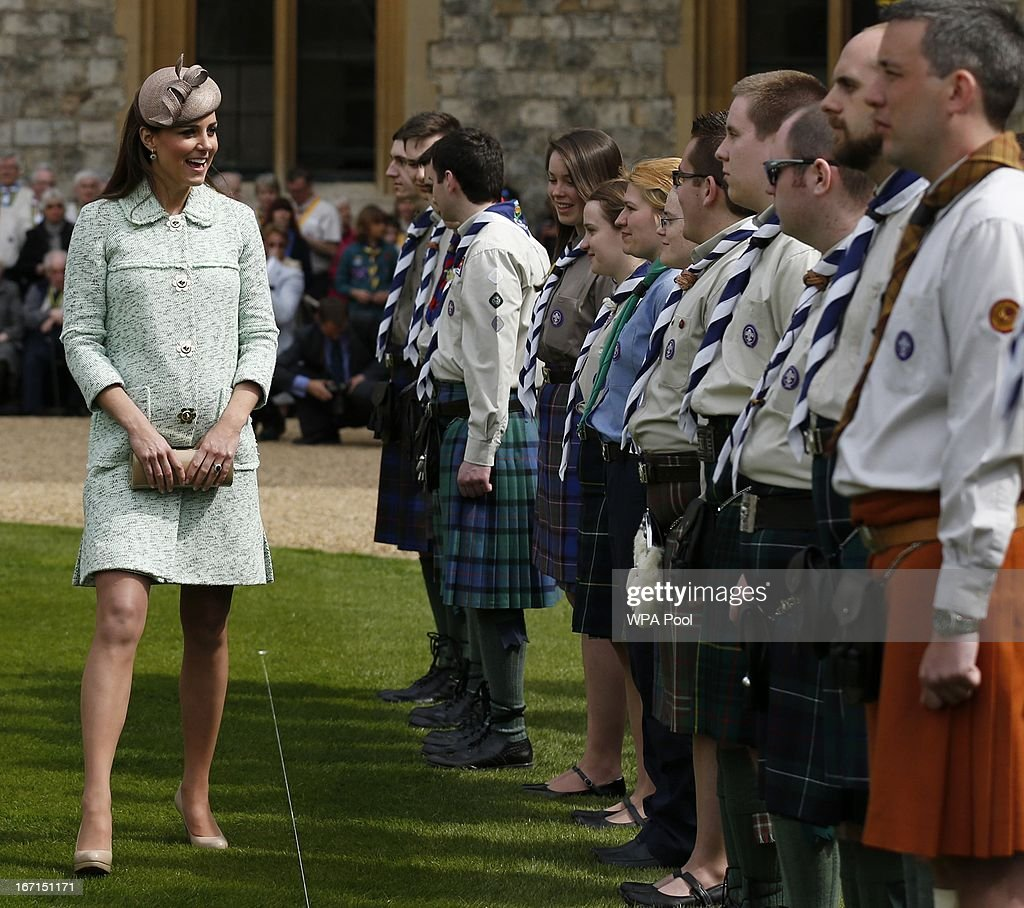 <a gi-track='captionPersonalityLinkClicked' href=/galleries/search?phrase=Catherine+-+Duchess+of+Cambridge&family=editorial&specificpeople=542588 ng-click='$event.stopPropagation()'>Catherine</a>, Duchess of Cambridge meets with scouts as she attends the National Review of Queen's Scouts at Windsor Castle on April 21, 2013.