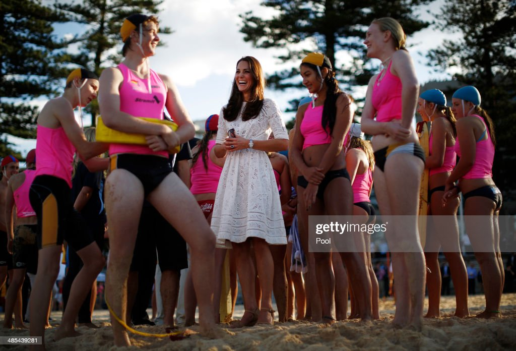 Catherine, Duchess of Cambridge meets with young surf lifesavers during a surf lifesaving event on Manly Beach on April 18, 2014 in Sydney, Australia. The Duke and Duchess of Cambridge are on a three-week tour of Australia and New Zealand, the first official trip overseas with their son, Prince George of Cambridge.