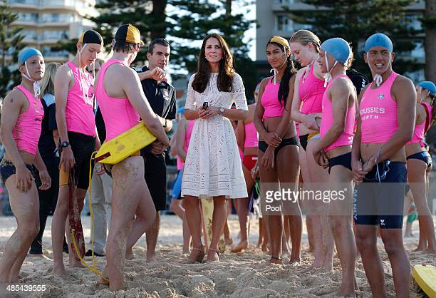 Catherine Duchess of Cambridge meets with young surf lifesavers during a surf lifesaving event on Manly Beach on April 18 2014 in Sydney Australia...
