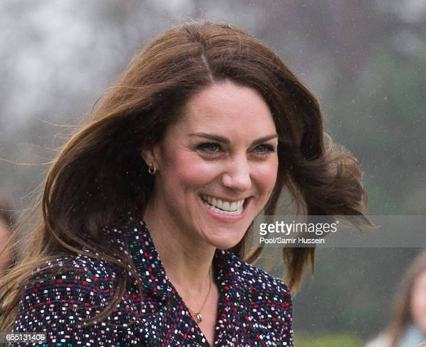 Catherine Duchess of Cambridge meets young French rugby fans at the Trocadero square near the Eiffel Tower on March 18 2017 in Paris France The Duke...