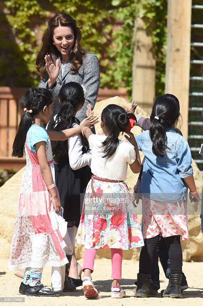 Catherine, Duchess Of Cambridge officially opens The Magic Garden At Hampton Court Palace on May 4, 2016 in London, England.