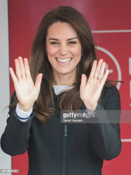Catherine Duchess of Cambridge officially starts the 2017 Virgin Money London Marathon elite men's and mass race which includes the Heads Together...