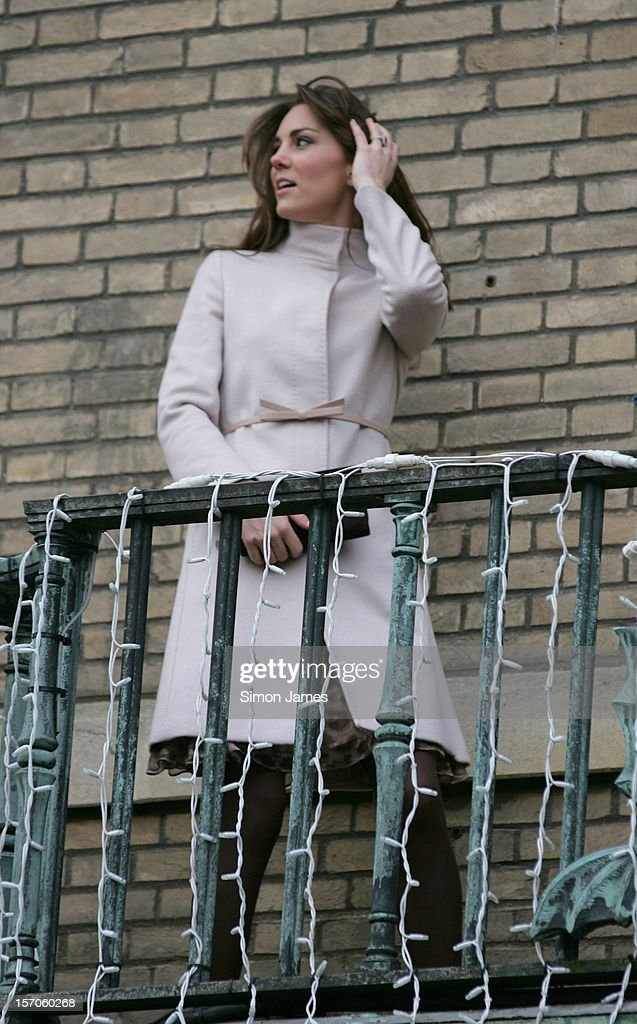 Catherine, Duchess of Cambridge on the balcony of Cambridge Guildhall as they pay an official visit to Cambridge on November 28, 2012 in Cambridge, England.
