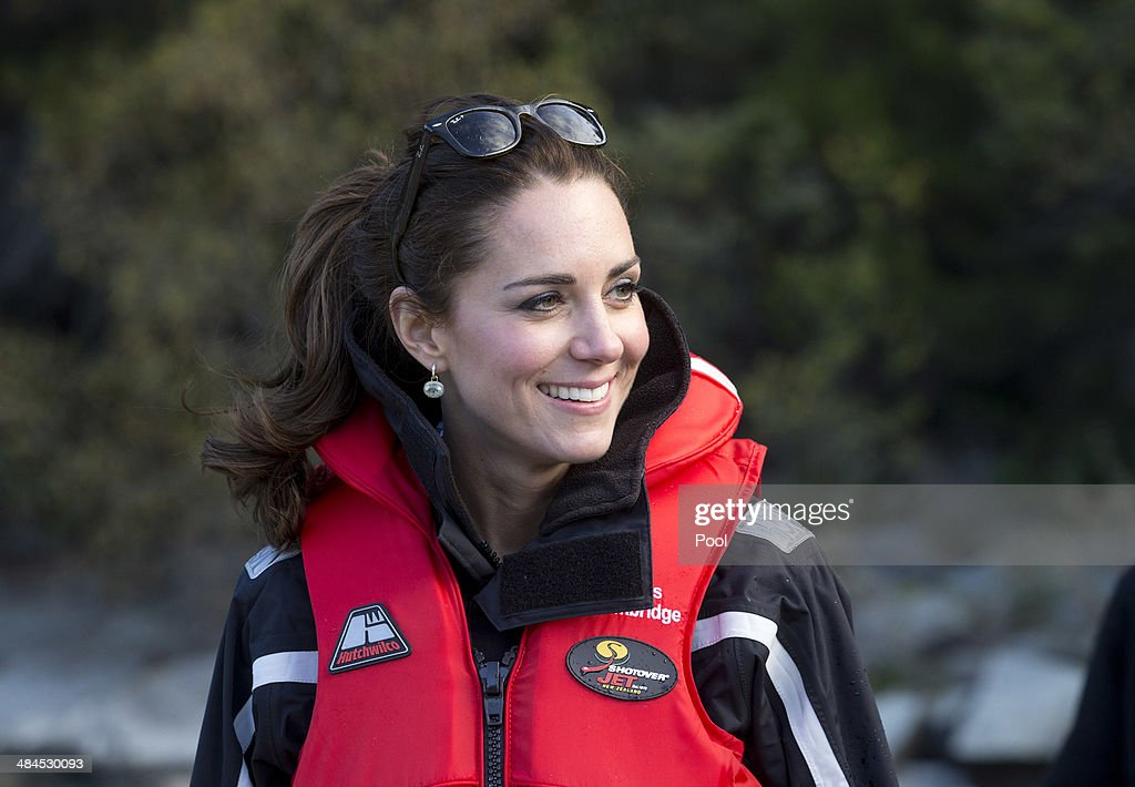 <a gi-track='captionPersonalityLinkClicked' href=/galleries/search?phrase=Catherine+-+Duchess+of+Cambridge&family=editorial&specificpeople=542588 ng-click='$event.stopPropagation()'>Catherine</a> Duchess of Cambridge on the shore near on the Shotover Jet on the Shotover River on April 13, 2014 in Queenstown, New Zealand. The Duke and Duchess of Cambridge are on a three-week tour of Australia and New Zealand, the first official trip overseas with their son, Prince George of Cambridge.