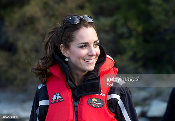 Catherine Duchess of Cambridge on the shore near on the Shotover Jet on the Shotover River on April 13 2014 in Queenstown New Zealand The Duke and...