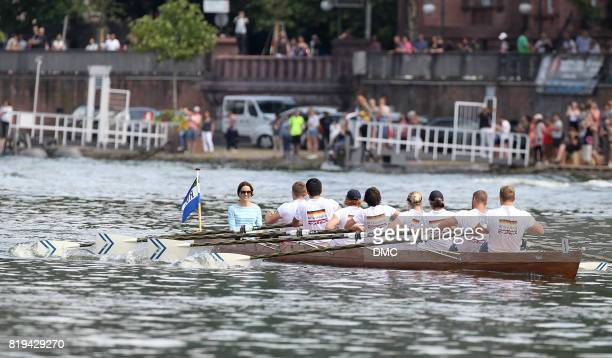 Catherine Duchess of Cambridge participates in a Rowing race between the twinned town of Cambridge and Heidelberg and against Prince William Duke of...