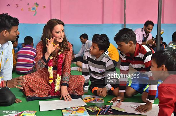 Catherine Duchess of Cambridge particpates in an arts class with street children at a contact centre run by the charity Salaam Baalak which provides...