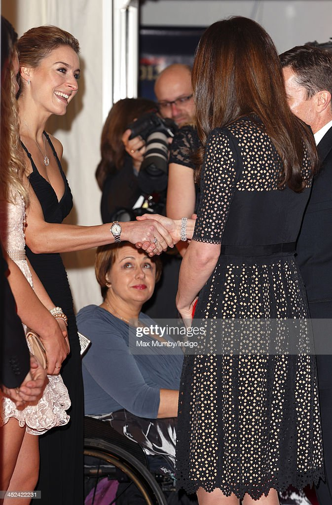 <a gi-track='captionPersonalityLinkClicked' href=/galleries/search?phrase=Catherine+-+Duchess+of+Cambridge&family=editorial&specificpeople=542588 ng-click='$event.stopPropagation()'>Catherine</a>, Duchess of Cambridge, Patron of SportsAid, greets <a gi-track='captionPersonalityLinkClicked' href=/galleries/search?phrase=Amy+Williams+-+Winter+Sportswoman&family=editorial&specificpeople=6718687 ng-click='$event.stopPropagation()'>Amy Williams</a> as she attends the SportsBall, the charity's annual gala dinner at Victoria Embankment Gardens on November 28, 2013 in London, England.