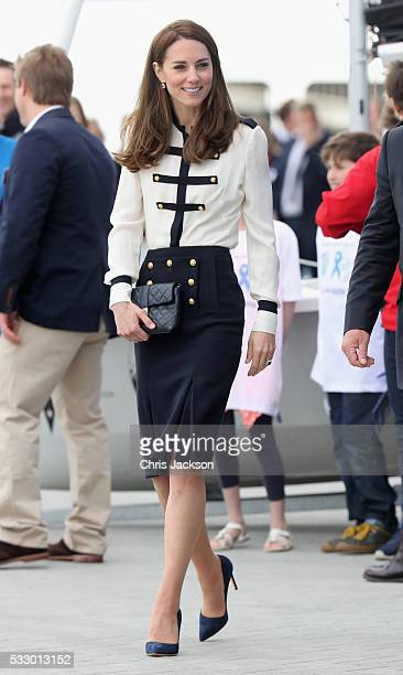 Catherine Duchess of Cambridge patron of the 1851 Trust arrives at Land Rover BAR on May 20 2016 in Portsmouth England The Duchess of Cambridge is...