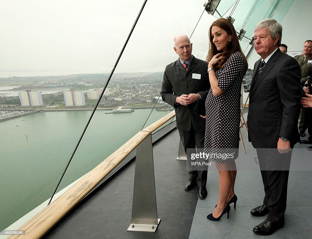 Catherine, Duchess of Cambridge, patron of the 1851 Trust, during a visit to Portsmouth to see the construction site of Ben Ainslie Racing new headquarters and visitor centre at the Spinnaker Tower on February 12, 2015 in Portsmouth, England.