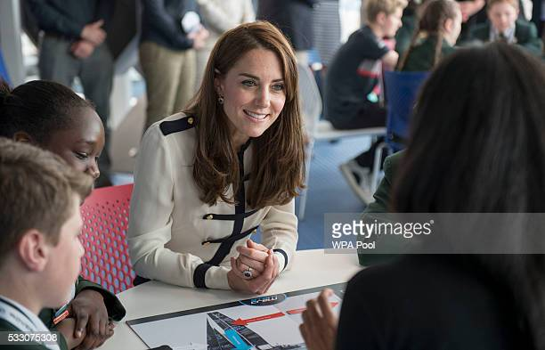 Catherine Duchess of Cambridge patron of the 1851 Trust joins local school students as she tours the new 'Tech Deck' Education Centre during her...
