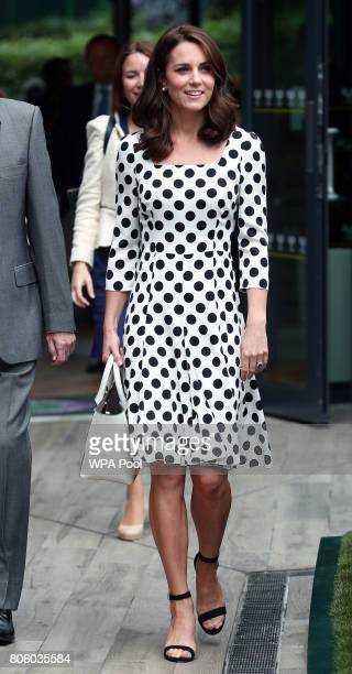 Catherine Duchess of Cambridge Patron of the All England Lawn Tennis and Croquet Club on day one of the Wimbledon Championships at The All England...