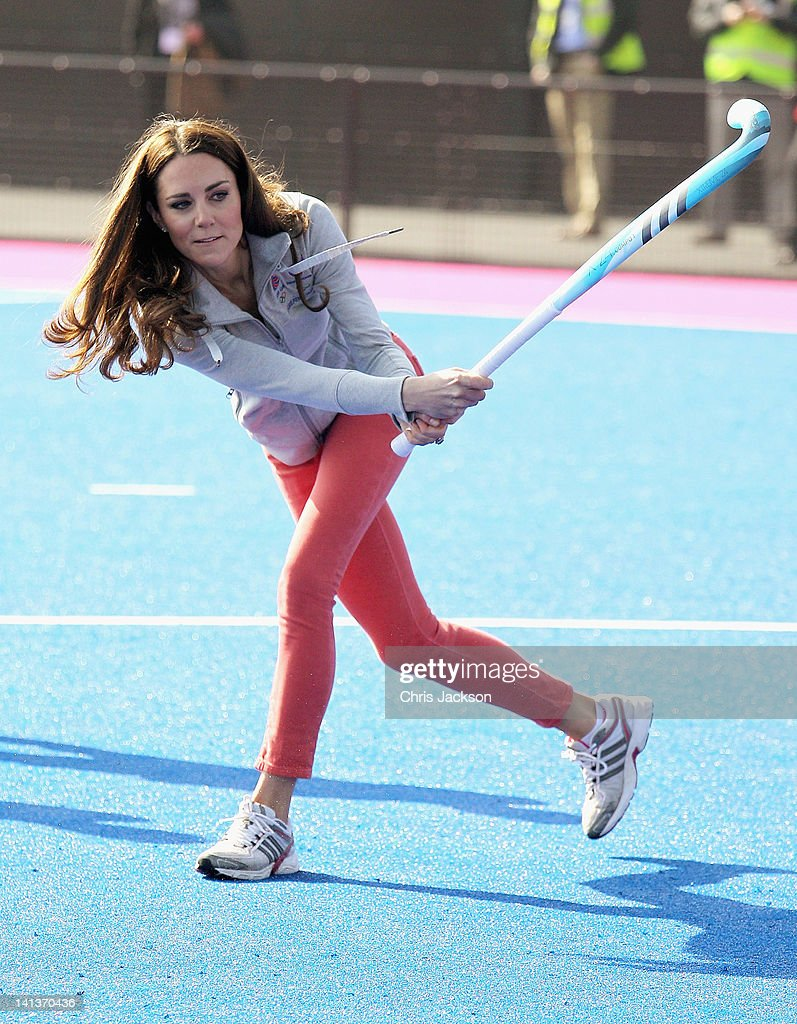 Catherine, Duchess of Cambridge plays hockey with the GB hockey teams at the Riverside Arena in the Olympic Park on March 15, 2012 in London, England. The Duchess of Cambridge viewed the Olympic park as well as meeting members of the men's and women's GB Hockey teams.